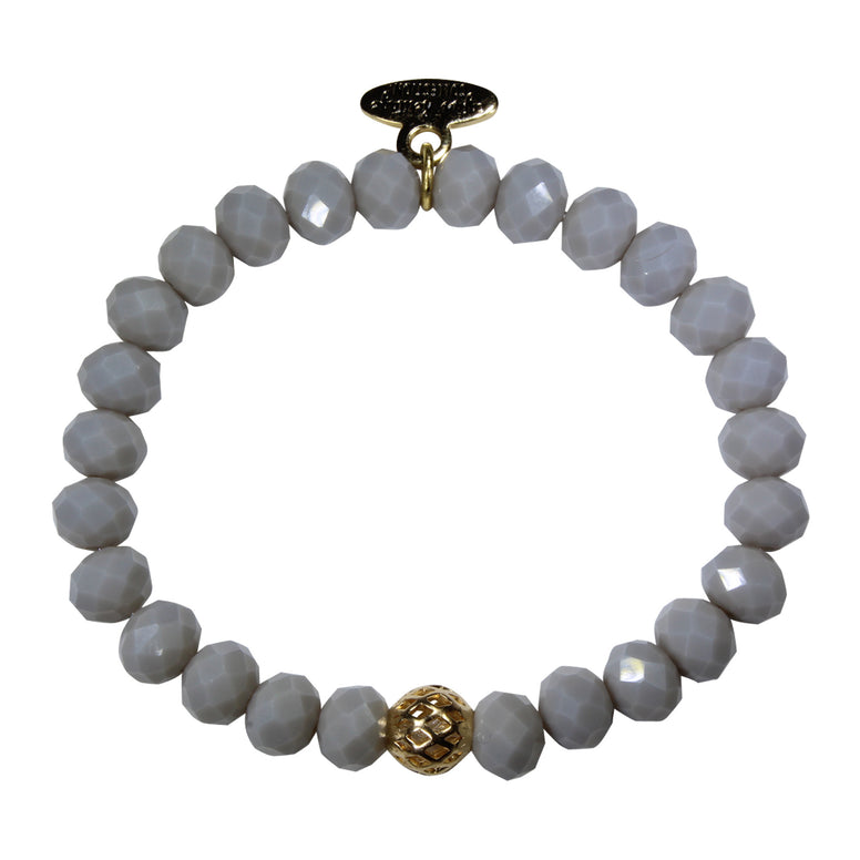 Light Grey Crystal Glass Bracelet