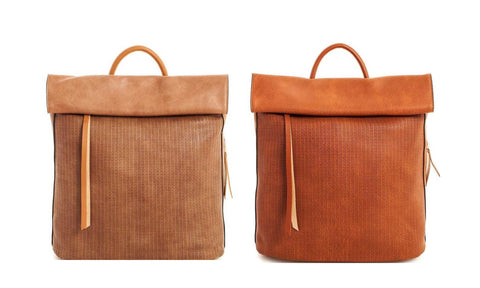 Taupe / Cognac Vegan Leather Backpack