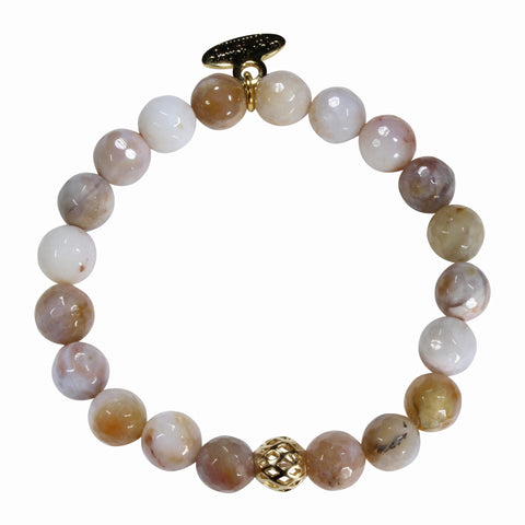 8mm Brown Cream Lace Agate Bracelet