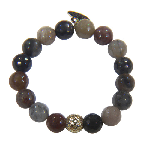 10mm Brown Grey Agate Bracelet