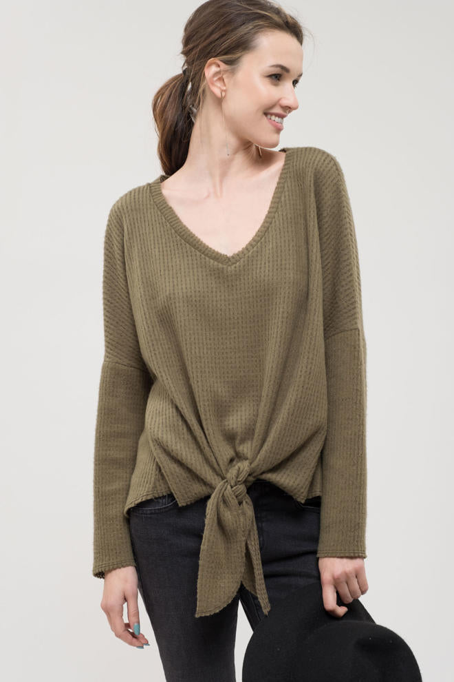 Olive Front Tie Knit Top