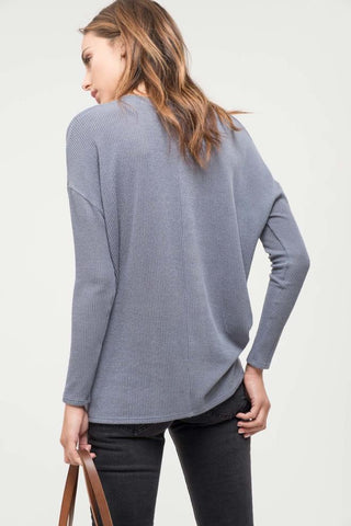Slate Grey Ribbed Long Sleeve Top