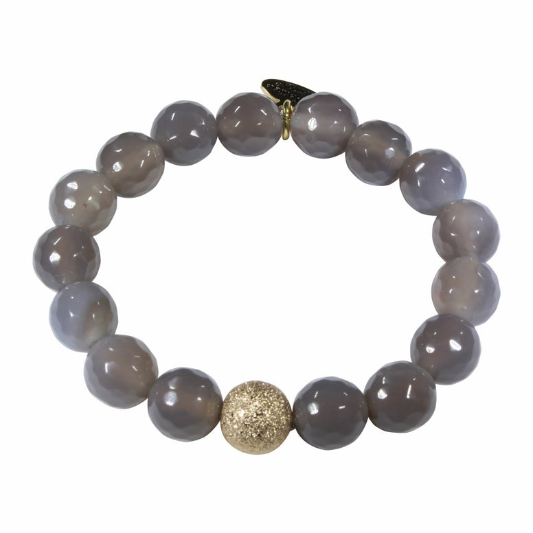 10mm Grey Agate Bracelet