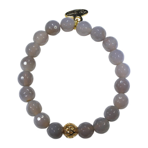 8mm Grey Agate Bracelet