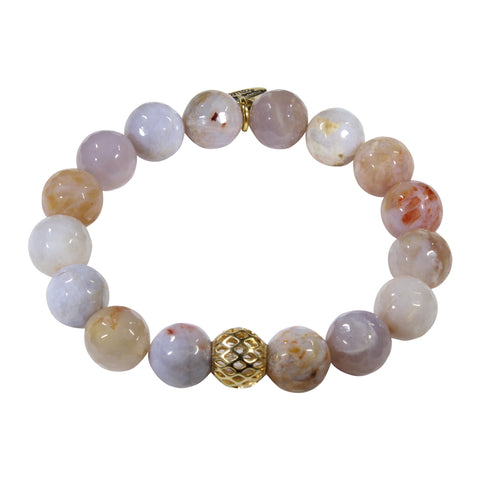 10mm Brown Cream Lace Agate Bracelet