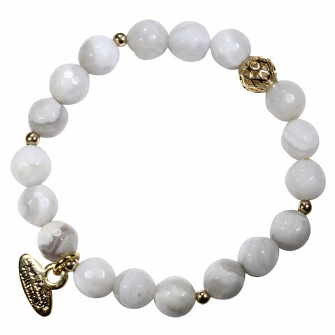 8mm Cream Agate Bracelet