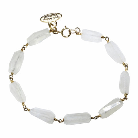 Raw-Cut Moonstone Bracelet