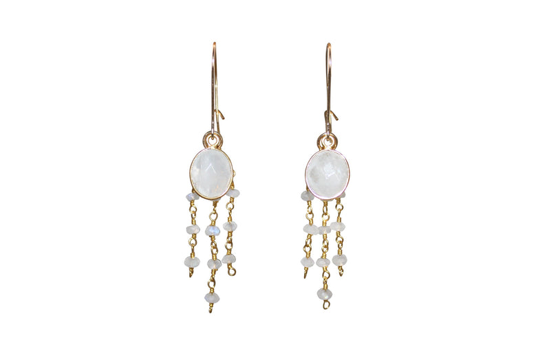 Moonstone Triple Drop Earrings