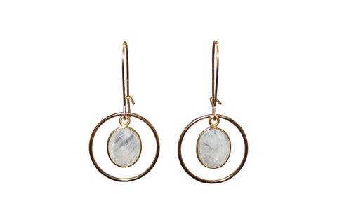 Golden Circle Moonstone Earrings