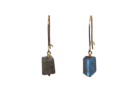 Raw Cut Labradorite Earrings