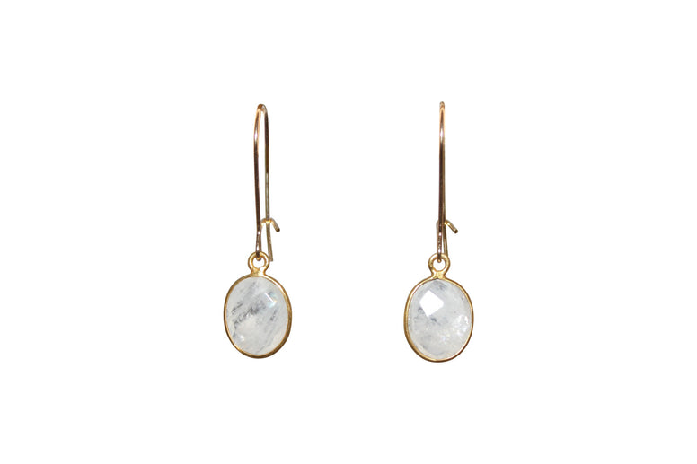 Small Oval Moonstone Earrings