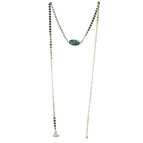 Golden Coin + Labradorite Wrap Around Necklace