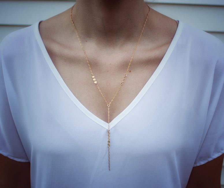 Gold Fill + Gold Coin Accent Lariat Necklace