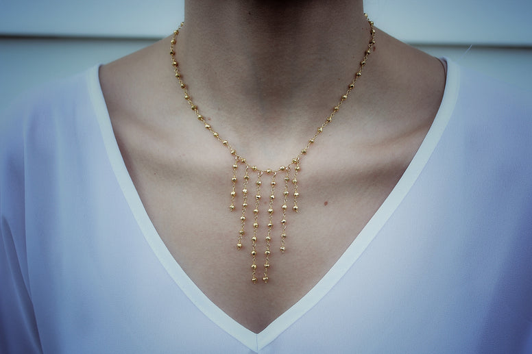 Golden Pyrite Dangling Short Necklace
