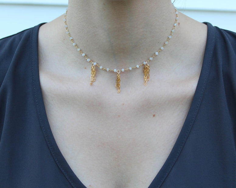 Gold Fill Dangle Chain + Moonstone Choker