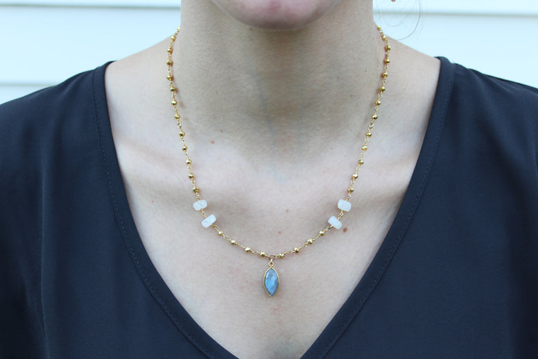 Labradorite Pyrite & Moonstone Short Necklace