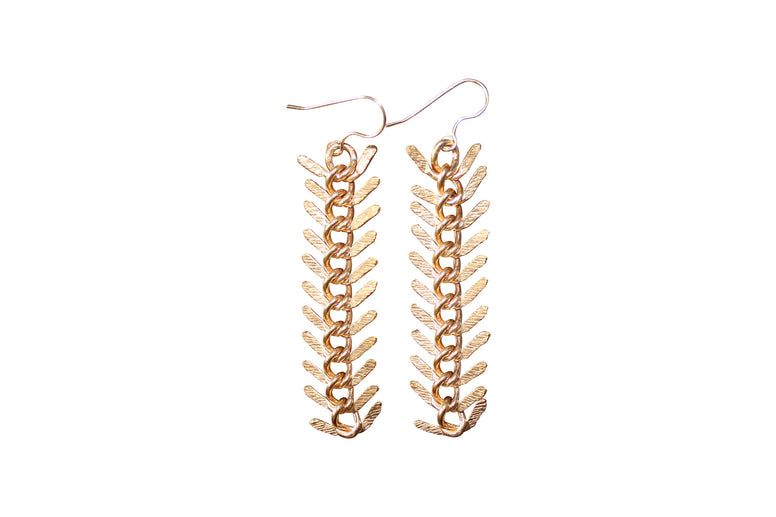 Golden Fishbone Drop Earrings