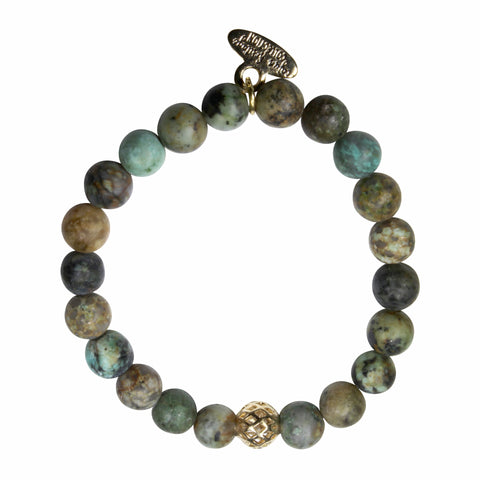 8mm Matte African Turquoise Bracelet