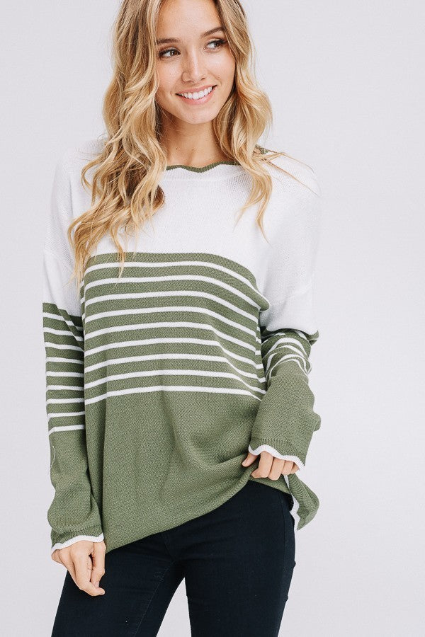 Cream and Olive Striped Knit Top