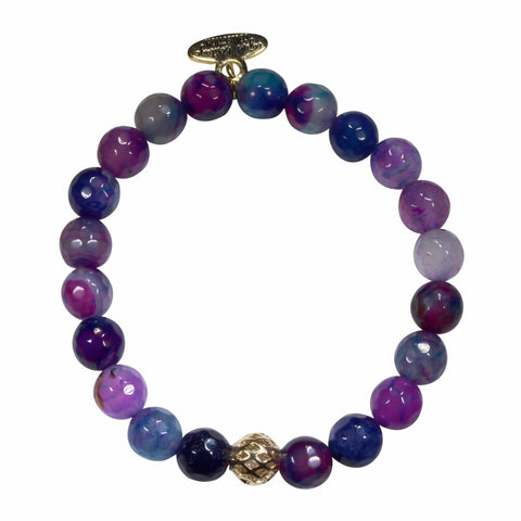 8mm Peacock Mermaid Agate Bracelet