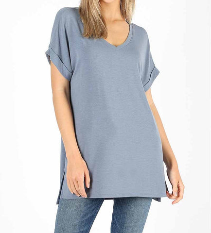 Blue/Grey V-Neck Top