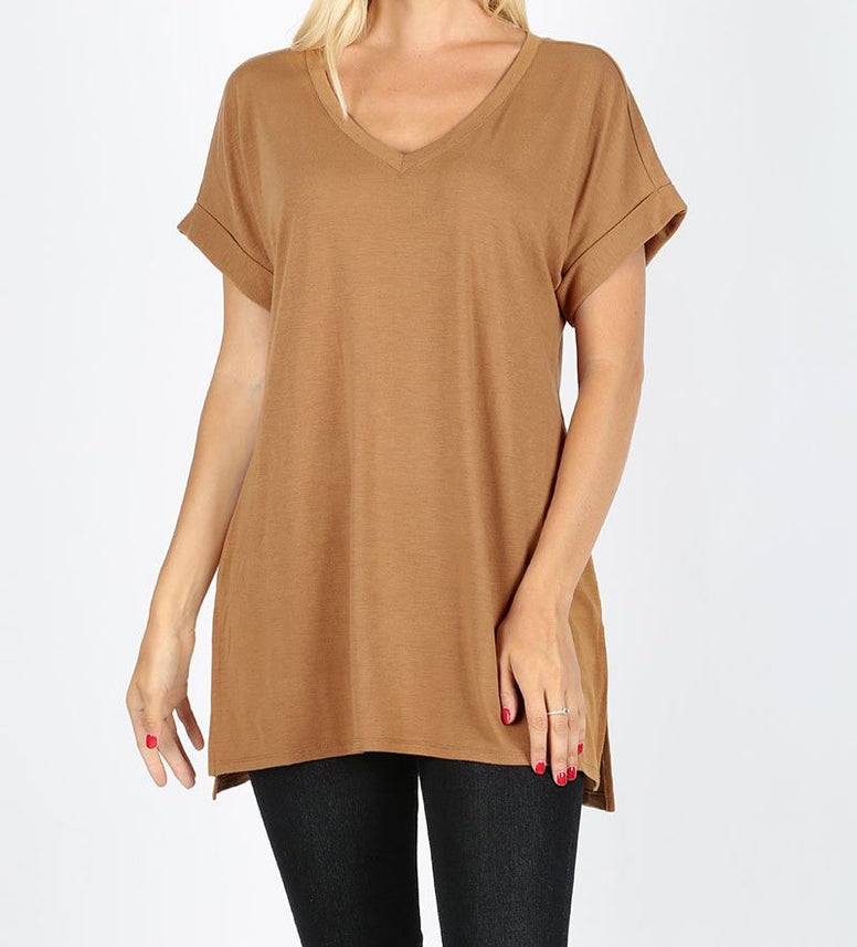 Light Camel V-Neck Top