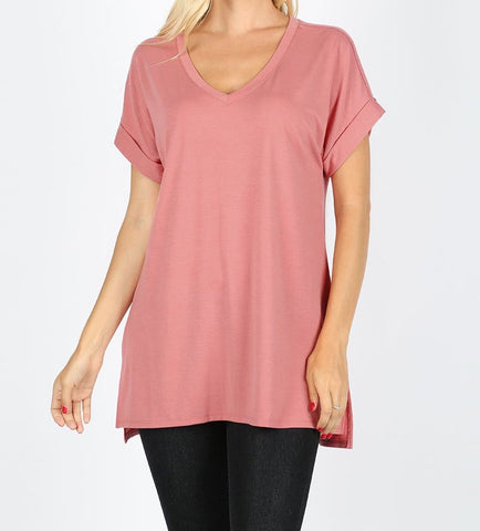 Dusty Rose V-Neck Top
