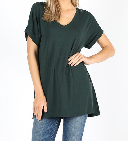 Hunter Green V-Neck Top