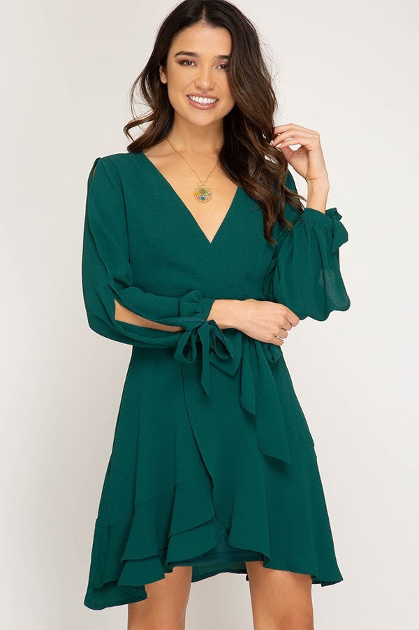 Sea Green Long Sleeve Wrap Dress