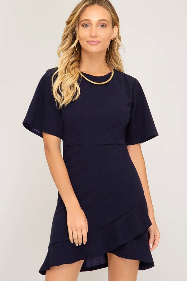 Navy Short Sleeve Dress with Detailed Hem