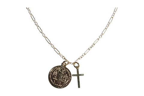 Gold Fill St. Benedict & Cross Pendant Necklace