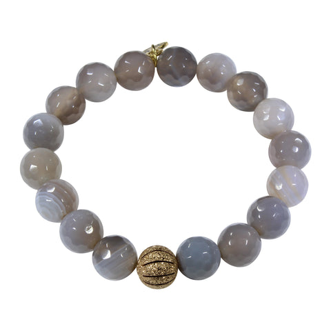 10mm Striped Gainsboro Agate Bracelet