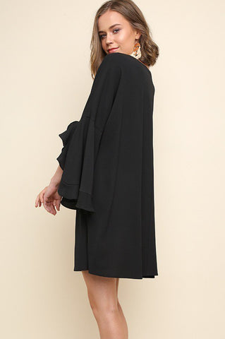 Black Ruffle Bell Sleeve Dress