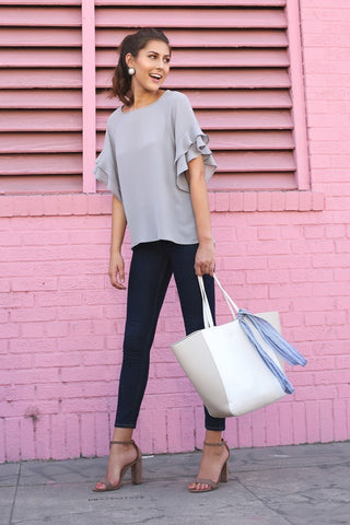 Light Grey Layered Ruffle Sleeve Blouse