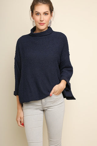 Navy High Neck Pullover Sweater