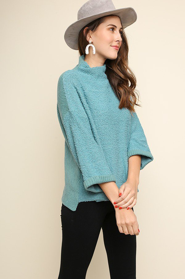 Teal High Neck Pullover Sweater