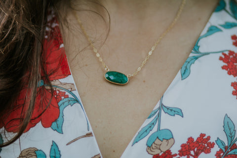Golden Emerald Double Chain Necklace