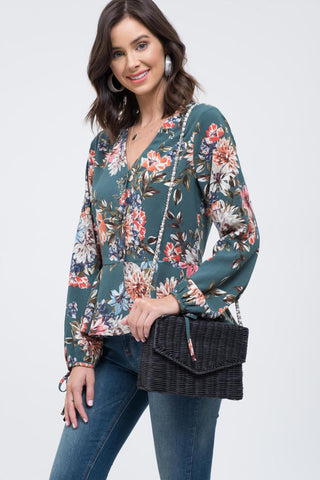 Hunter Green Floral Print Blouse