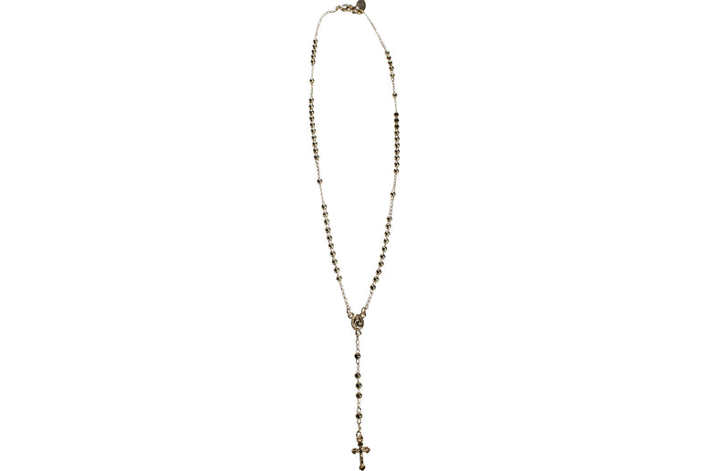 Gold Fill Beaded Rosary Lariat Necklace
