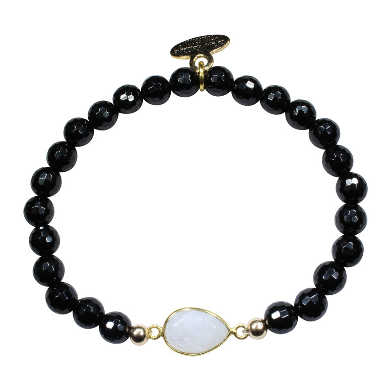 Black Onyx + Moonstone Pendant Beaded Bracelet