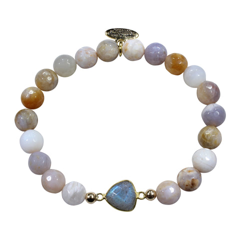Brown Cream Agate + Labradorite Bracelet