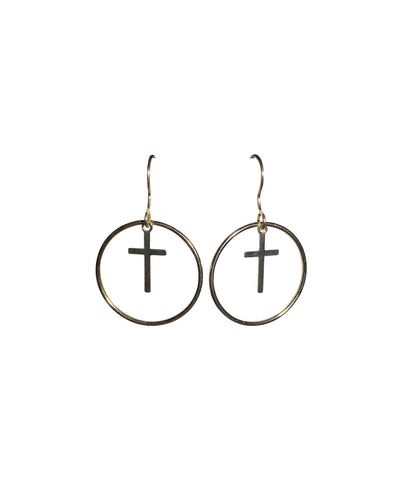 Gold Fill Cross Round Link Earrings