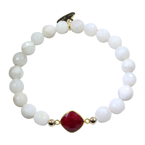Cream Agate + Ruby Bracelet
