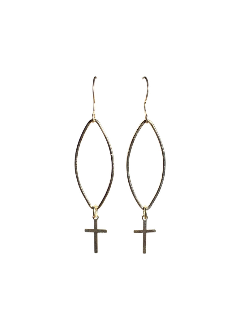 Gold Fill Marquise Cross Earrings