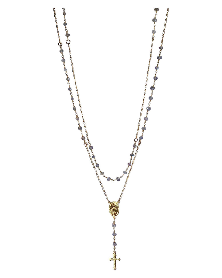 Gold Fill & Gemstone Layered Rosary Necklace