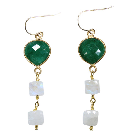 Emerald + Moonstone Drop Earrings