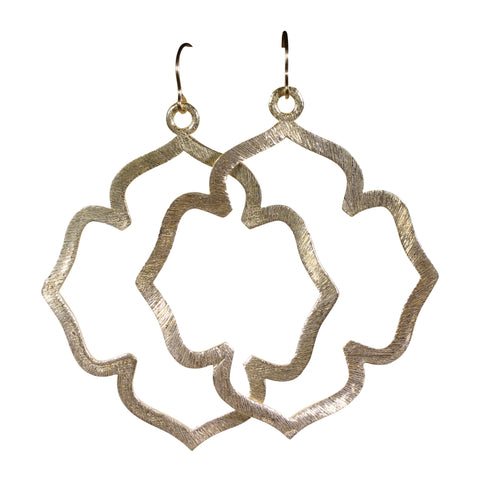 Gold Brushed Flower Blossom Earrings