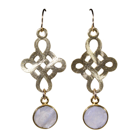Gold Brushed Knot Moonstone Drop Earrings