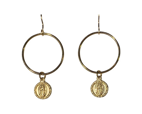 Gold Fill Guadeloupe Round Link Earrings