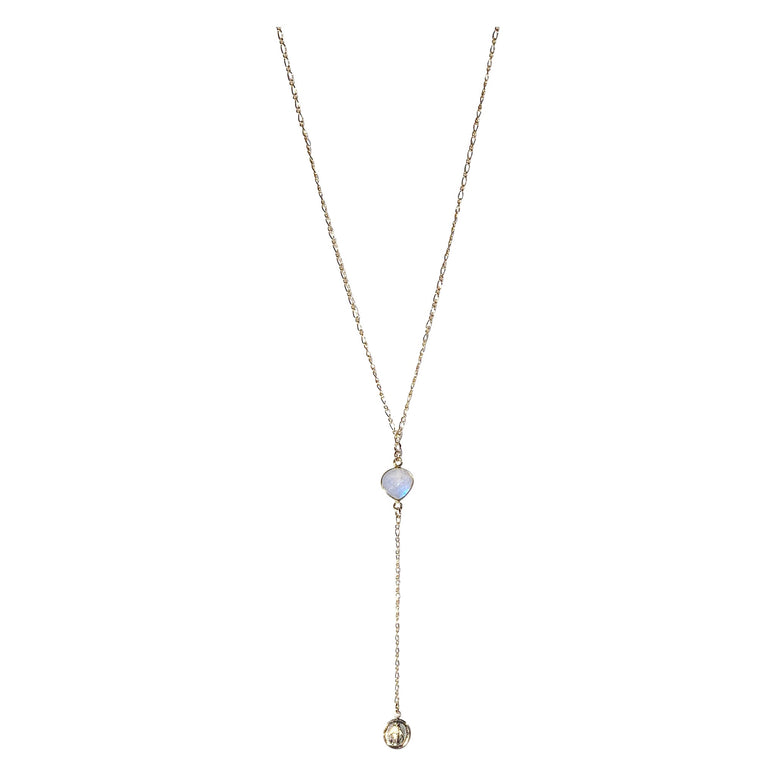 Gold Fill Miraculous Moonstone Lariat Necklace